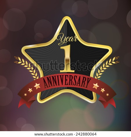 Celebrating 1 Year Anniversary - Golden Star with Laurel Wreath Seal with Red Golden - Layered EPS 10 Vector. - stock vector