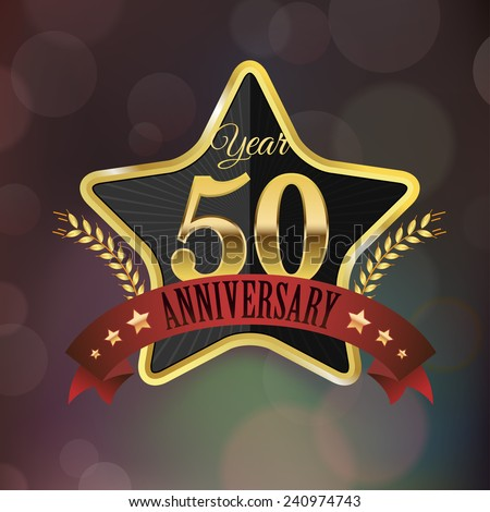Celebrating 50 Years Anniversary - Golden Star with Laurel Wreath Seal with Red Golden - Layered EPS 10 Vector.