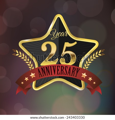 Celebrating 25 Years Anniversary - Golden Star with Laurel Wreath Seal with Red Golden - Layered EPS 10 Vector. - stock vector