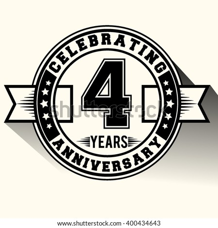 Celebrating 4 years anniversary logo, Celebrating 4th anniversary sign, retro design.