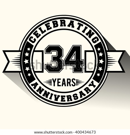 Celebrating 34 years anniversary logo, Celebrating 34th anniversary sign, retro design.