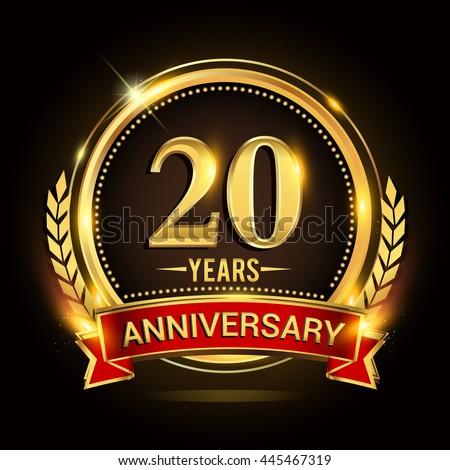 Celebrating 20 Years Anniversary Logo Golden Stock Vector ...