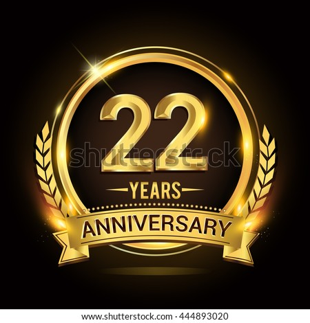celebrating 22 years anniversary logo golden stock vector royalty