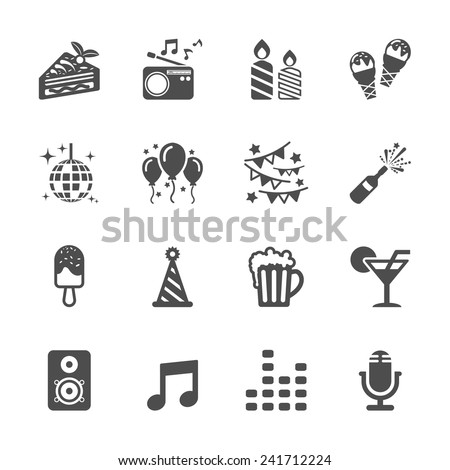 celebration and party icon set 2, vector eps10. - stock vector