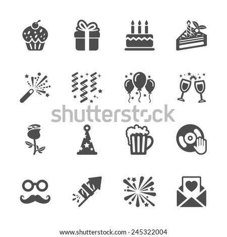 celebration and party icon set 3, vector eps10. - stock vector