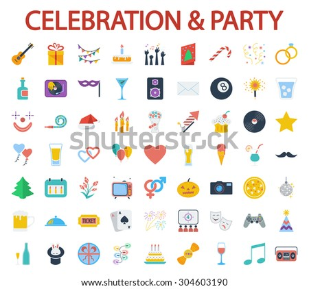 Celebration and Party icons set. Flat vector related icon set for web and mobile applications. It can be used as - logo, pictogram, icon, infographic element. Vector Illustration.  - stock vector