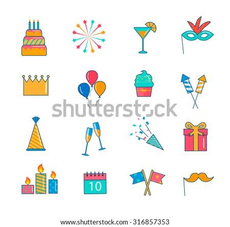 Celebration Party Icons Thin Line Set Stock Photo Photo Vector
