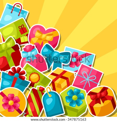 Celebration background or card with colorful sticker gift boxes.