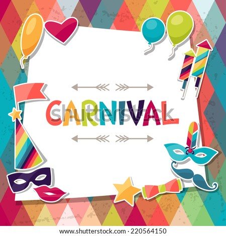 Celebration background with carnival stickers and objects. - stock vector