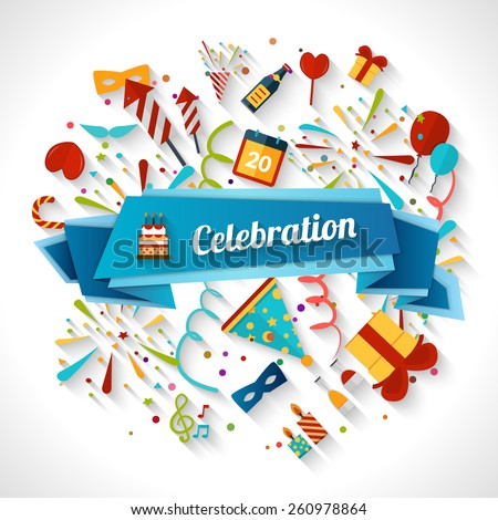 Celebration background with ribbon and party entertainment holiday elements vector illustration - stock vector