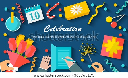 Celebration background with table top view, festive items, postcards, bunch of flowers, streamers, confetti, gifts. Human hands holding flowers, Bengal fire, vector illustration
