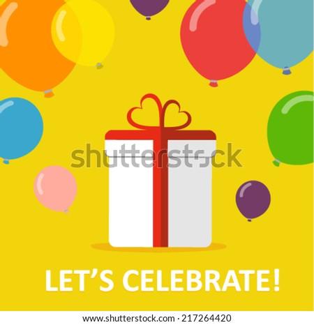 celebration card with a gift an balloons - flat design vector  - stock vector