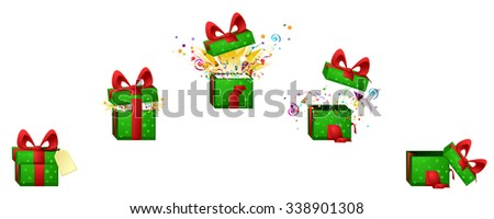 celebration cartoon design element set, exploding gift box, isolated vector