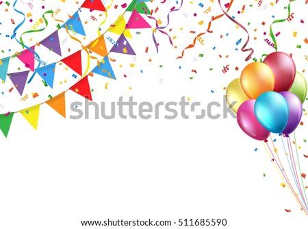 Celebration design with flag, balloon, confetti and streamer. Vector illustration.