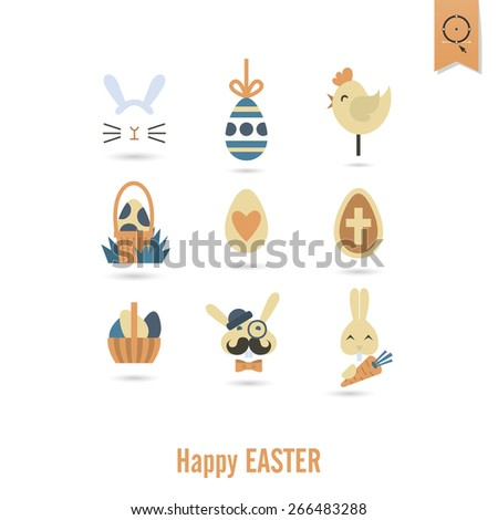 Celebration Easter Icons. Vector. Clean Work Minimum Points - stock vector