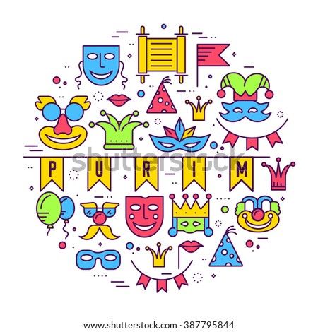 Celebration festival holiday party equipment thin lines illustrationss set. Vector masquerade carnival collection design illustrations concept - stock vector