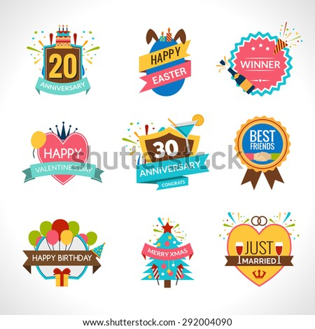 Celebration festives holidays and anniversaries emblems set isolated vector illustration - stock vector