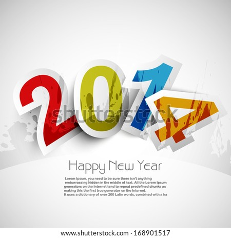 Celebration for new year 2014 colorful background with stylish text design vector