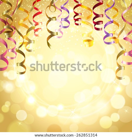 Celebration golden color background with realistic festive streamers vector illustration - stock vector