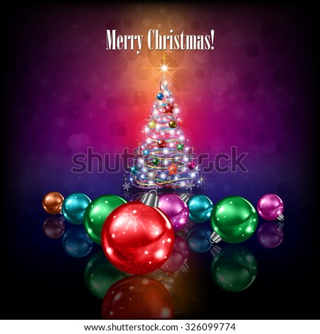 Celebration greeting with Christmas tree and stars on purple background - stock vector