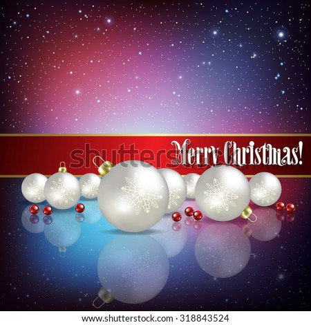 Celebration greeting with white Christmas decorations on blue red background - stock vector