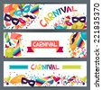 Celebration horizontal banners with carnival icons and objects. - stock vector