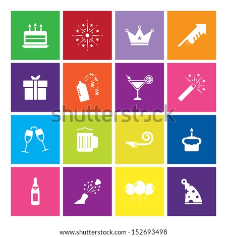 Celebration Icon on color background - stock vector