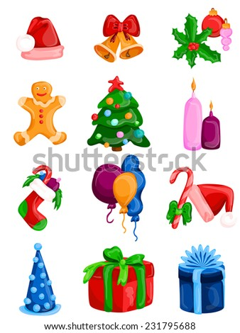 Celebration Icons and Party Icons. Christmas Icon Set. Vector Illustration - stock vector