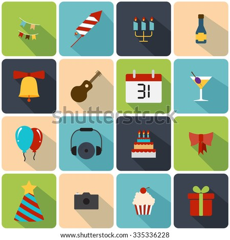 Celebration icons set - stock vector