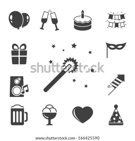 Celebration icons set, contrast flat isolated vector illustration - stock vector