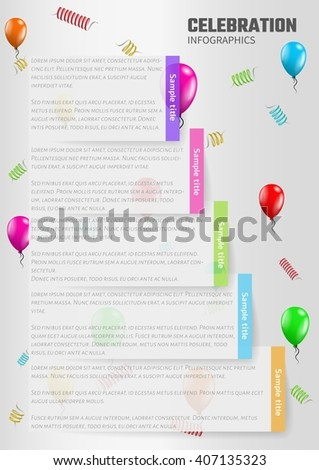 celebration infographics with balloons and sampletext, vector