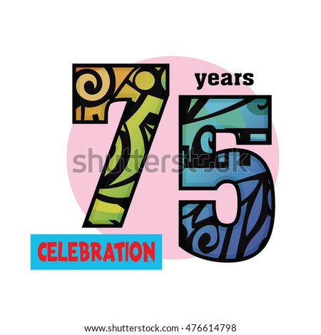 Celebration logo with colorful tribal pattern 75