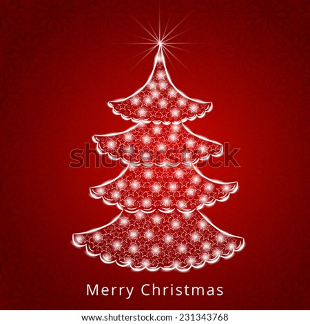 Celebration of Merry Christmas with lights decorated stylish X-mas tree on seamless red background. - stock vector