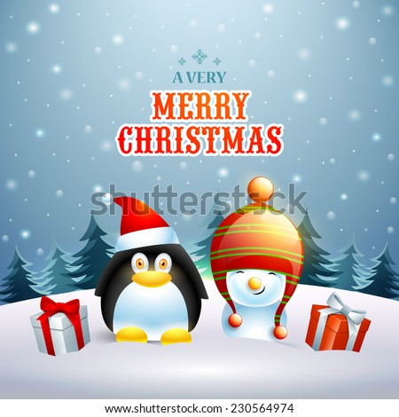 Celebration of Merry Christmas with penguin in Santa cap and snowman in winter cap with gift boxes on winter night background. - stock vector