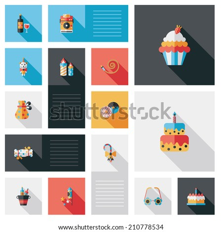 Celebration party flat ui with long shadow,eps10 - stock vector