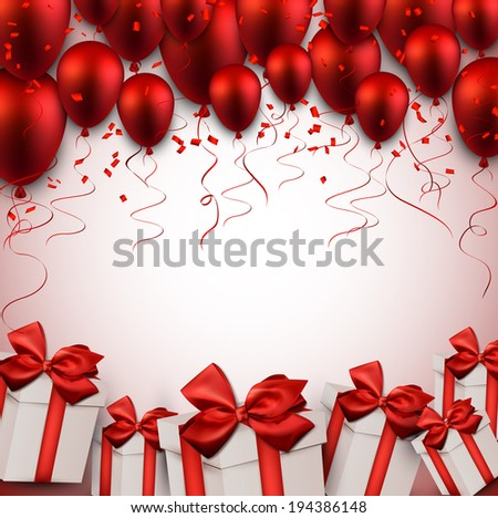 Celebration red background with balloons and confetti. Vector illustration.  - stock vector