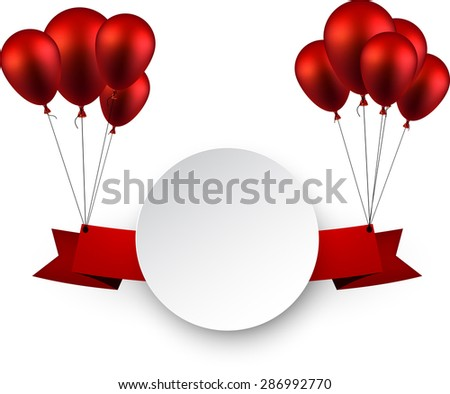 Celebration ribbon background with red balloons. Vector illustration.  - stock vector