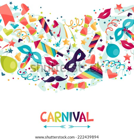 Celebration seamless pattern with carnival icons and objects. - stock vector