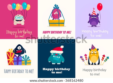 Celebration set of cartoon cute character Monsters. Vector flat illustration. - stock vector