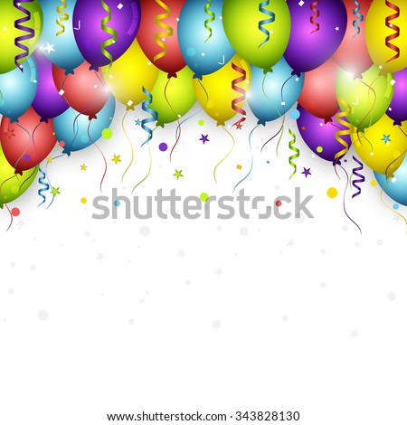 Celebration vector background with colorful confetti, balloons and ribbons/Happy Birthday greeting card.