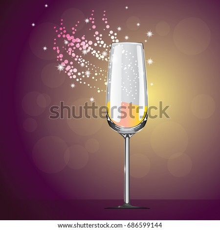 Celebration wine glass. A party. Background with champagne glass and splashes, vector illustration. Playing bubbles.