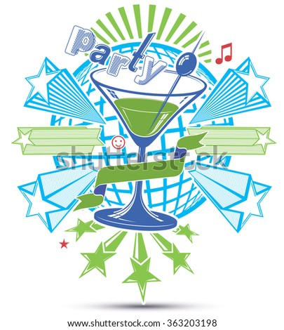 Celebrative leisure backdrop with musical notes and salute,lounge theme poster. Glass martini goblet placed over earth symbol.