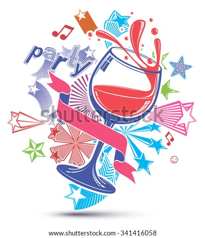 Celebrative leisure vector background with musical notes, glass goblet with wine and festive stars. Graphic festive splash poster with design elements easy to use separately. - stock vector