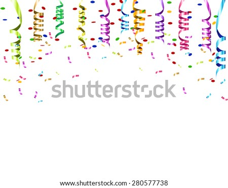 Celebratory background white pattern with colored ribbons and confetti streamers. Vector illustrations - stock vector