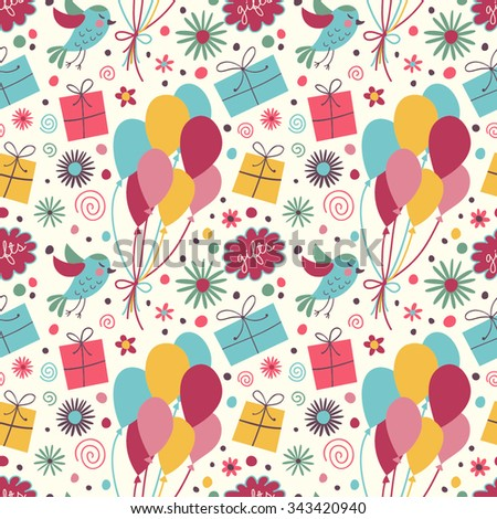 Celebratory seamless pattern with birds, gifts, balloons, confetti, flowers. - stock vector
