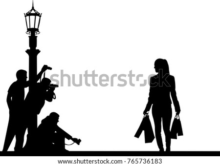 celebrity and paparazzi hidden take pictures on the street silhouette