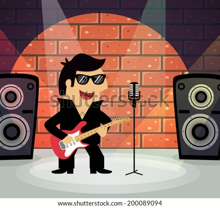 Celebrity rock star on stage with guitar and microphone vector illustration - stock vector