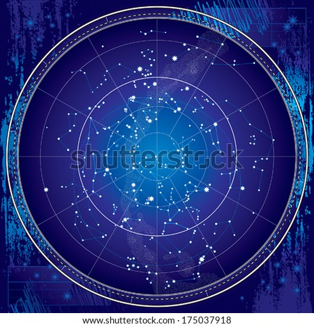 Celestial Map of The Night Sky. Astronomical Chart of Northern Hemisphere. (Ultraviolet Blueprint version EPS-8). - stock vector