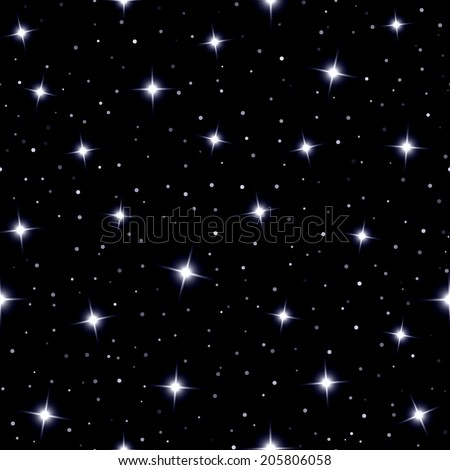 Celestial seamless background with sparkling stars glittering on a dark blue sky  in the night - stock vector