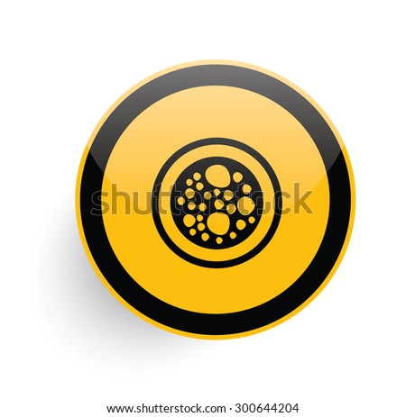 Cell icon design on yellow button background,clean vector - stock vector